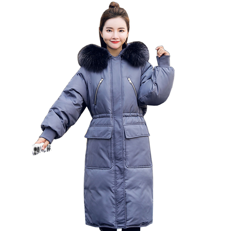 2018 Winter White duck   down   Jackets for Women High Quality Hooded fur collar warm Thick Long Fashion Female   Down     Coat   plus size
