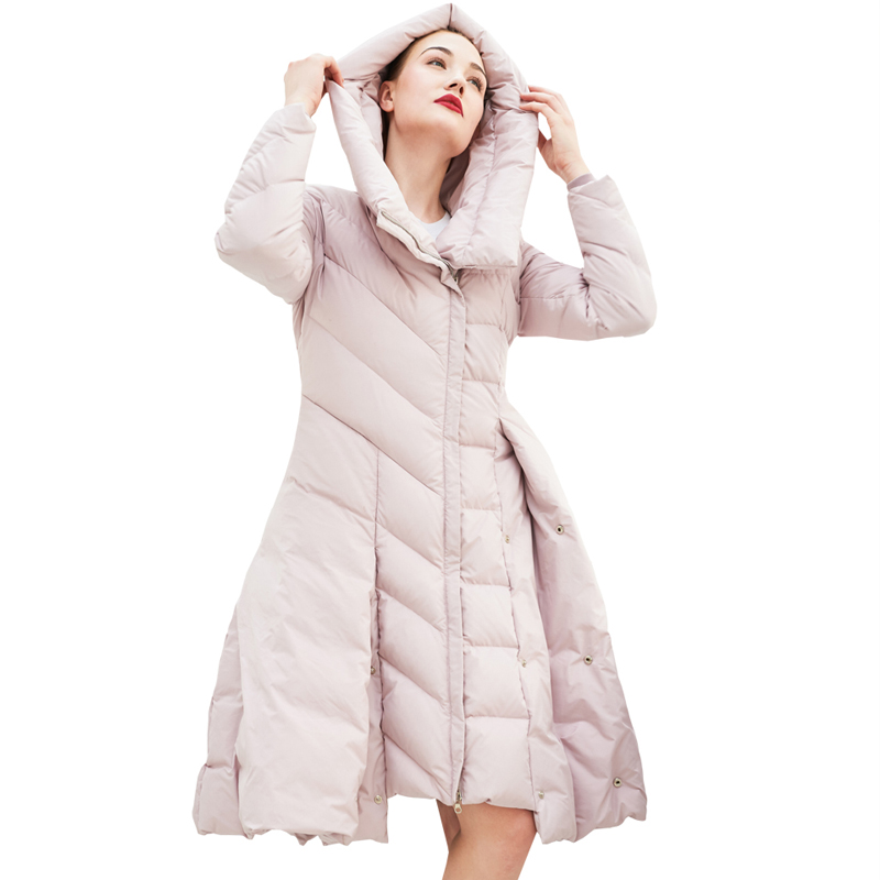 YNZZU Brand Luxury 2018 Winter Women Down Jacket Elegant Skirt Type 90% White Duck Down Coat Female Jacket Thick Overcoat O688