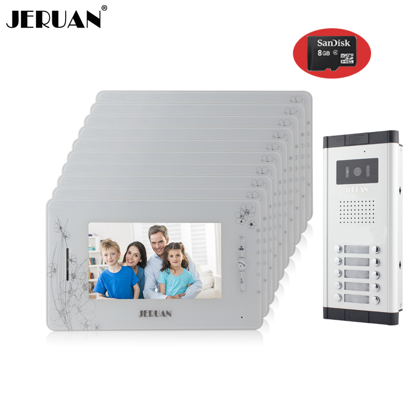 JERUAN Brand New Apartment Intercom 7`` LCD Video Door Phone Doorbell intercom System for 10 house 1V10+8GB card+free shipping new apartment doorbell intercom 7 lcd touch key video door phone intercom system 1camera 10 monitors for 10 house free shipping