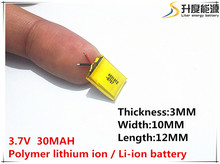 301012 3.7V 30mAh Rechargeable Lithium li Polymer Battery For bluetooth headset headphone Mp3 speaker mouse recorder 031012