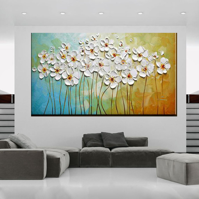 Perfect Handmade Abstract Wall Art Pictures Pinturas A óleo Da Faca De Paleta Flor  Grosso árvore Decoração