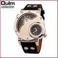 Moda Oulm Marca Hombres Deportes Relojes de Cuarzo Analógico Casual Relojes hombres Casual reloj de Cuero Militar Reloj de Pulsera