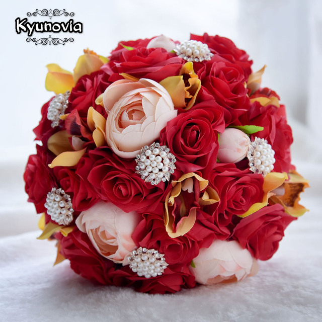Kyunovia Wedding Silk Camellia Bouquet Red Roses Bride Bouquet buque ...