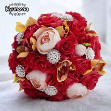 Kyunovia Pernikahan Sutra Camellia Bouquet Red Roses Bride Bouquet buque de  casamento Pernikahan Bunga Bridal Bouquet Centerpiec. c9d6bd8863