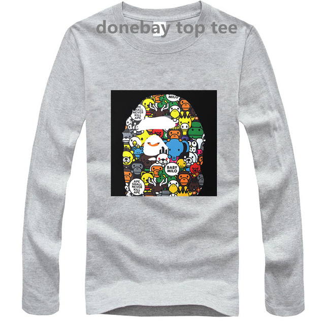 08ef04cfb 2016 men long sleeve bape t-shirts fashion tee tops mena brand clothing  streetwear hip hop style male cotton 100% good quality
