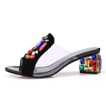 Ekoak New women High Heels rhinestone Genuine Leather Cow Suede Sandals party shoes fashion ladies women dress shoes woman