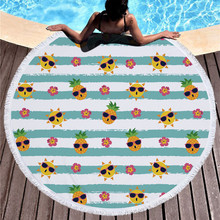 Новое круглое пляжное полотенце модное ананас пляжное полотенце с кисточками микрофибра Пикник одеяло ковровый гобелен 2019