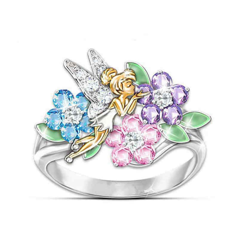 Fantasy Flower Fairy Angel Rings For Women  Colorful Crystal Ring Angel Of Wings Fashion Wedding Engagement Jewelry Gifts