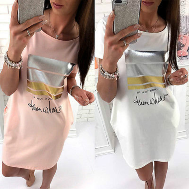 Fashion Women Summer Short Sleeve Cotton Loose Print Long Blouse Shirts Party Cocktail Short Mini Sundress Clubwear Shirt Outfit