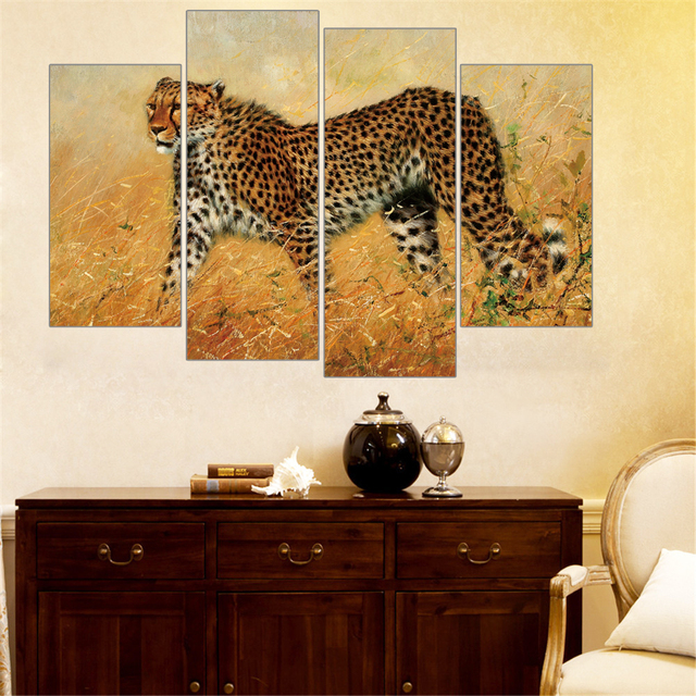 African Animals Painting Leopard Lion Elephant Zebra Print On Canvas Wall  Art Home Decor Canvas Art