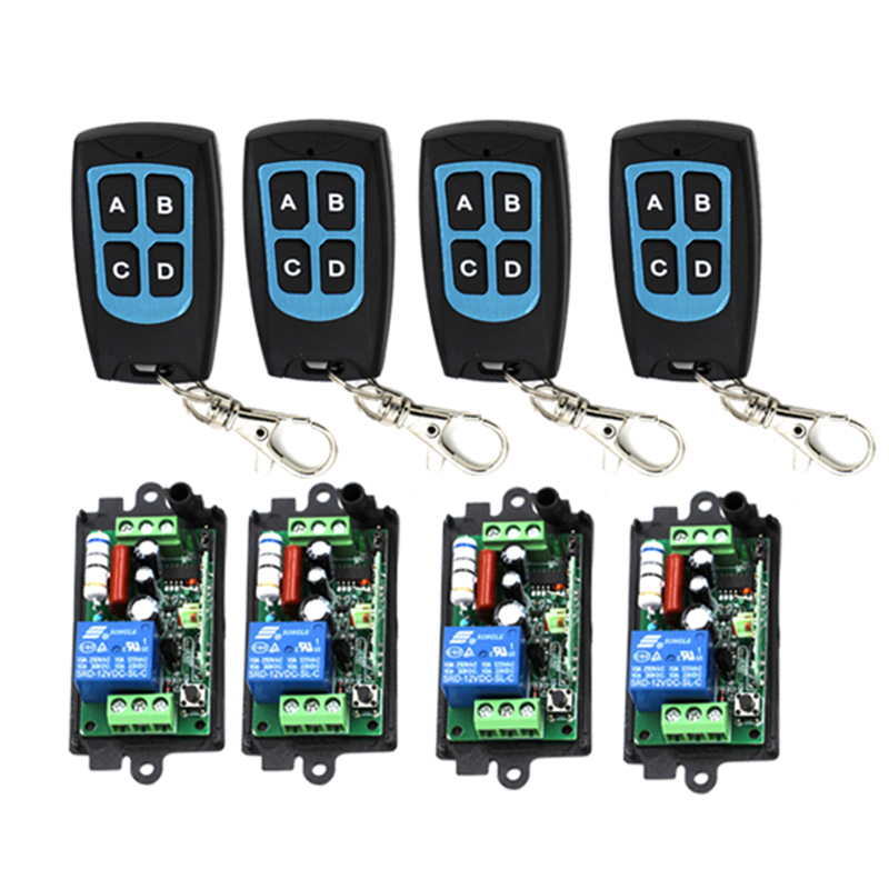 Portable AC220V 110V 10A 315MHZ 1 Channel Wireless Remote Control Switch Relay Learning Code 4 Transmitter 4 Receiver Per 3420