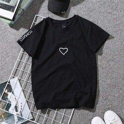 2019 Summer Couples Lovers T-Shirt for Women Casual White Tops Tshirt Women T Shirt Love Heart Embroidery Print T-Shirt Female 2