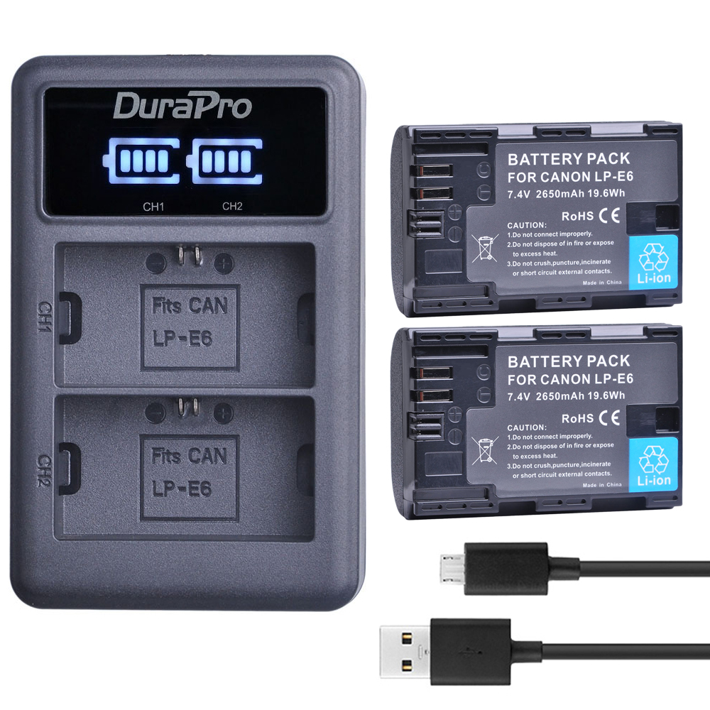 2X LP-E6 LPE6 LP E6 LP-E6N Rechargeable Battery+ LED USB Charger For Canon EOS 5DS R 5D Mark II 3 5D Mark III 6D 7D 60D 60Da 70D