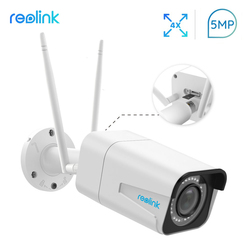 Reolink Security Camera 4MP/5MP WiFi 2.4G/5G HD 4x Optical Zoom Built-in SD Card Slot Nightvision Bullet IP Camera RLC-511W