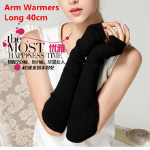 Зимние женские шерстяные перчатки 40 см Сверхтонкий шерстяной перчатки без пальцев длинные теплые перчатки полуперчатки длинные реглан