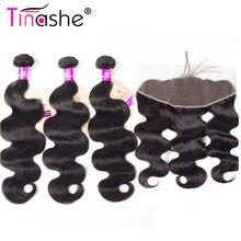 Tinashe Hair-mechones de pelo malayo con cierre, cabello humano Remy con encaje Frontal, mechones de ondas corporales con cierre Frontal