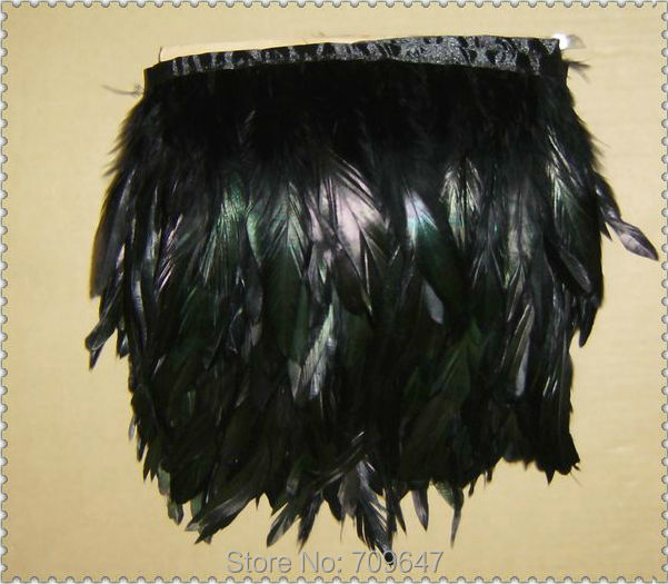 Wholesale 10Yards Lot 14 20CM Height Black Coque feather trimming fringe Rooster tail feather fringe freeshipping