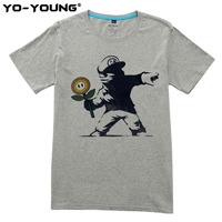 Yo Young New Men T Shirts Funny Super Mario Revolt Design Digital Printed 100 180gsm Combed