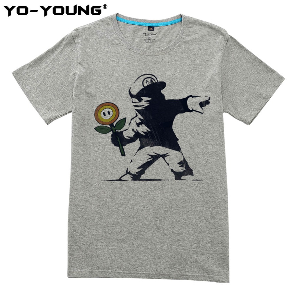 New Super Mario Men T Shirts Funny Design Digital Printing 100% 180gsm Combed Cotton Casual Top Tees Short Sleeve Customized