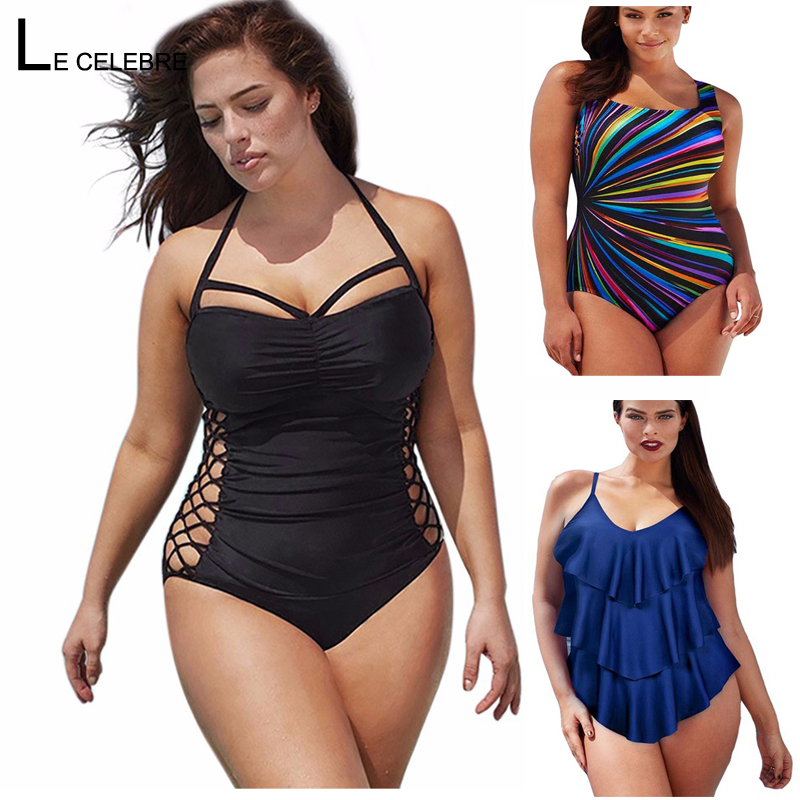 5XL Large Big Plus Size Swimwear For Women Sexy One Piece Swimsuit 2019 Slimming Female Print Retro Beach Bathing Suit Bodysuit