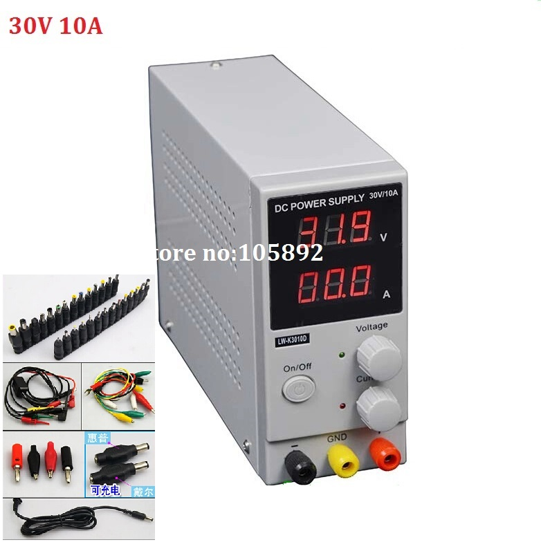 New LW-3010D Mini Switching Regulated Digital Adjustable Switch DC power supply 30V 10A OCP/OTP US/EU/AU Plug+39pcs DC jack original lw mini adjustable digital dc power supply 0 30v 0 10a 110v 220v switching power supply 0 01v 0 01a 34 pcs dc jack