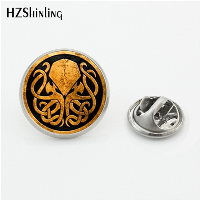 US $0 95 50% OFF 2017 New Design Cthulhu Emblem Vintage Lapel Pins Round  Steampunk Cthulhu Stainless Steel Collar Pin Glass Art Photo Jewelry-in