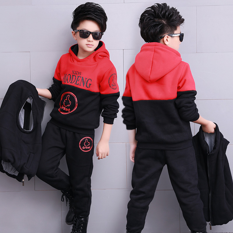 Children's Clothes Set Kids Boy Winter Fleece Hoodie&Pants&Vest 3pcs Sports Suit Teenager Boy 2018 Fashion Thick Warm Outfits купить недорого в Москве