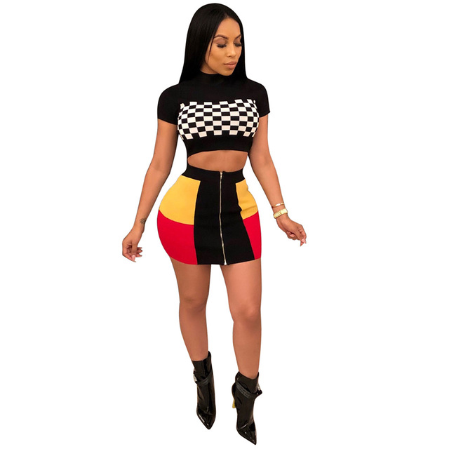Adogirl Punk Women Skirt Suit Fashion 2 Piece Set Motorcycle Set Plaid Crop  Top + Skirt Set Casual Sexy Female Suit Slim Outfits 2a3c3f424f80