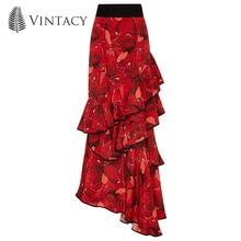 Здесь можно купить   Vintacy 2017 women Red skirts Flower Falbala vacation skirts party women skirt causal skirts Floor-Length zipper female skirts Women