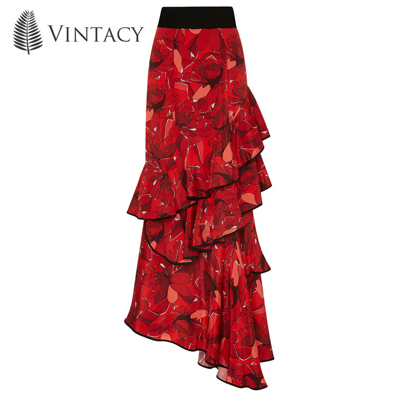 Vintacy 2017 Women Red Skirts Flower Falbala Vacation Skirts Party Women Skirt Causal Skirts Floor-Length Zipper Female Skirts