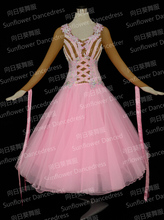 100% New Competition  organza ballroom Standard dance dress,juvenile dance clothing,stage ballroom dress,Women,girl,pink color