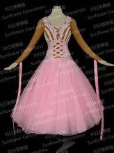 100% nowy konkurs organza ballroom standardowa sukienka do tańca, młodzież odzież do tańca, odzież abiti da ballo liscio standardowy