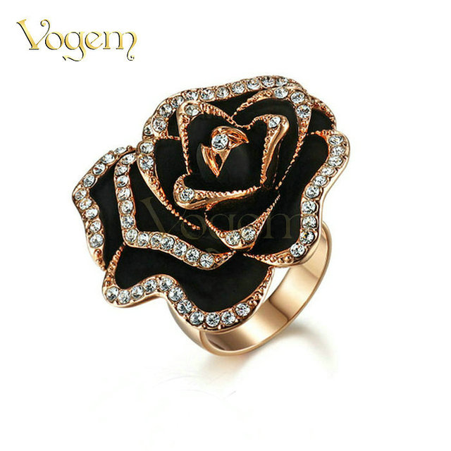 VOGEM [FLOWER SERIES] Black Rose Big Pendant Flower Rings For Women French High Grade Quality AAA+ Zircon Wedding Bands Jewelry