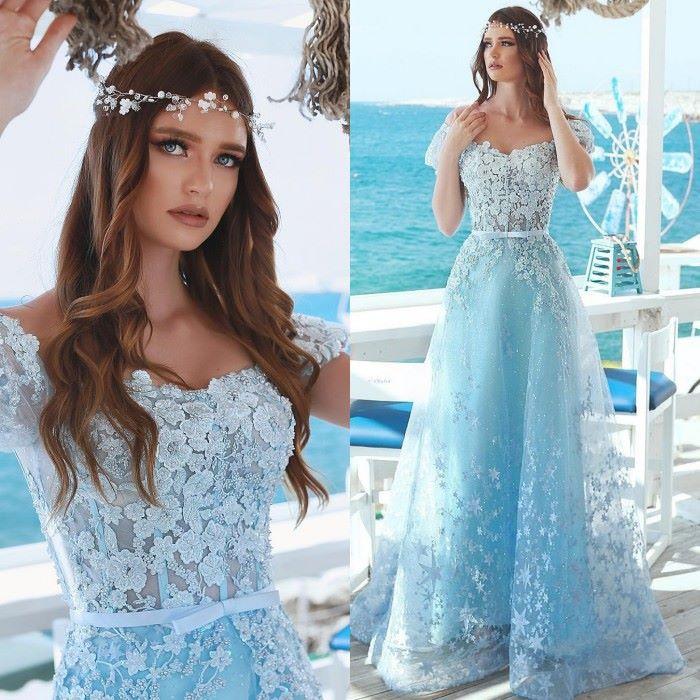 Elegant Flowes Appliques Long   Prom     Dresses   2019 Off the Shoulder A-Line   Prom   Gowns Short Sleeve V-Neck Formal Party   Dresses