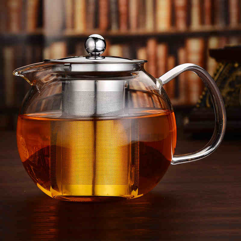 Heat Resistant Glass TeaPot Clear Borosilicate Teapot With 304 Stainless Steel Infuser Straine health pot high Flower TeaSet