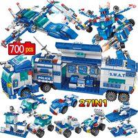 Stad Politie Station Auto Bouwstenen Swat Militaire Politie Robot Cijfers Bricks Sets Onderwijs Speelgoed Voor Kinderen Kinderen