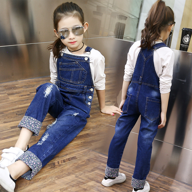 suspender kids jeans girls pants blue pockets holes teenage little girls  jeans pants long trousers spring autumn 2017 new cloth-in Jeans from Mother  & Kids ...