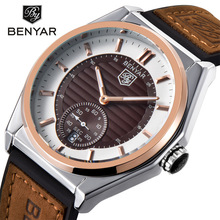 BENYAR Fashion Sport Quartz Watch Mens Watches Top Brand Luxury Leather Business Waterproof Date Clock Relogio Masculino 5125 недорого