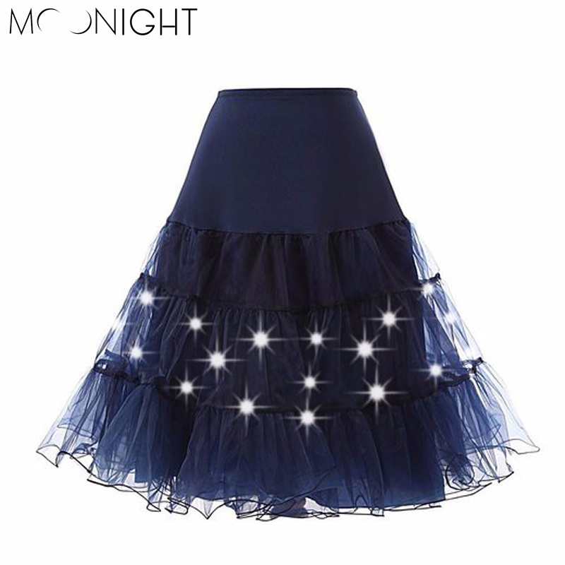 MOONIGHT Tulle Skirts Womens Fashion High Waist LED Lights Tutu Skirt Retro Vintage Women Summer Skirt