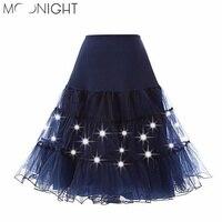 MOONIGHT Summer Tulle Skirts Womens Fashion High Waist Pleated Tutu Skirt Retro Vintage Underskirt Women