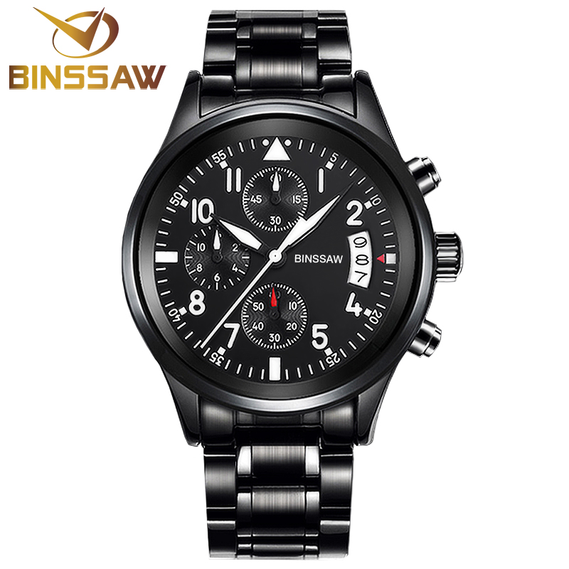 BINSSAW Men Fashion Calendar Sport Stainless Steel Quartz Watch Sapphire Luxury Brand Military Mens Watches Relogio