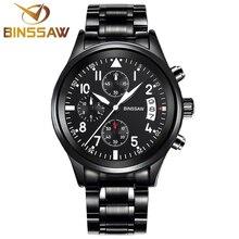 Envío gratis BINSSAW negro nueva moda hombre de cuero calendario reloj del deporte del cuarzo marca de lujo de zafiro mens relojes militares