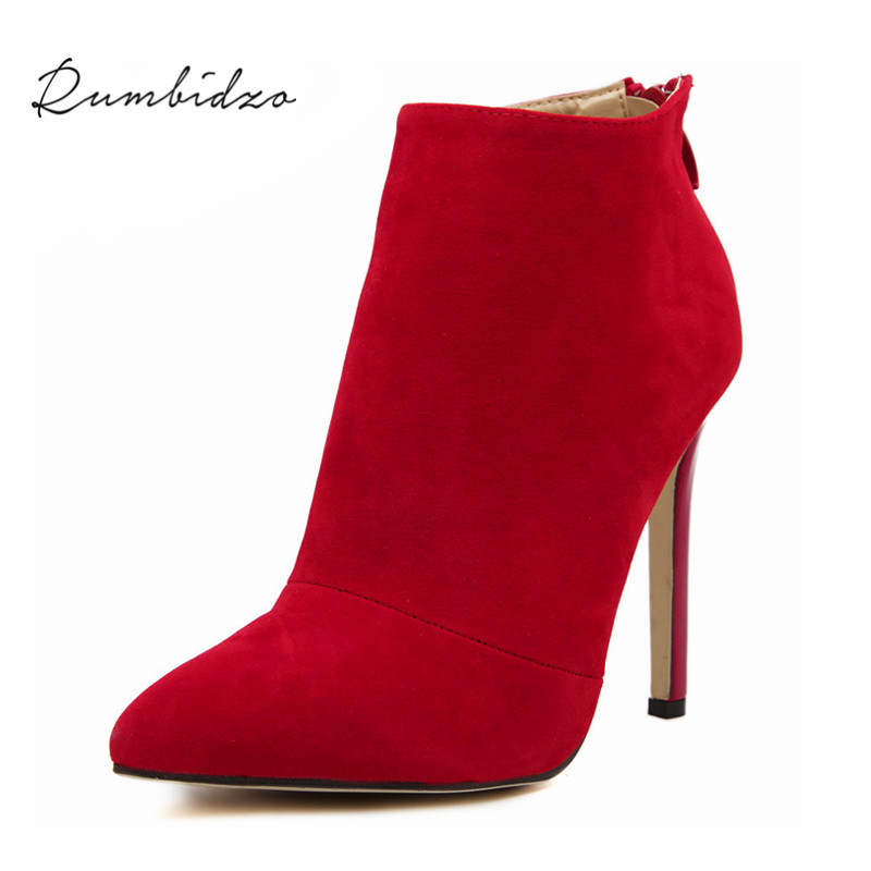 Rumbidzo New Fashion Womens Suede Pointed Toe Ankle Boots Sexy Stiletto High Heels Women Shoes Black and Red Zapatos 2017 new european and american romantic pop black magazine cool shoes sexy fashion hollow women boots fashion summer boots