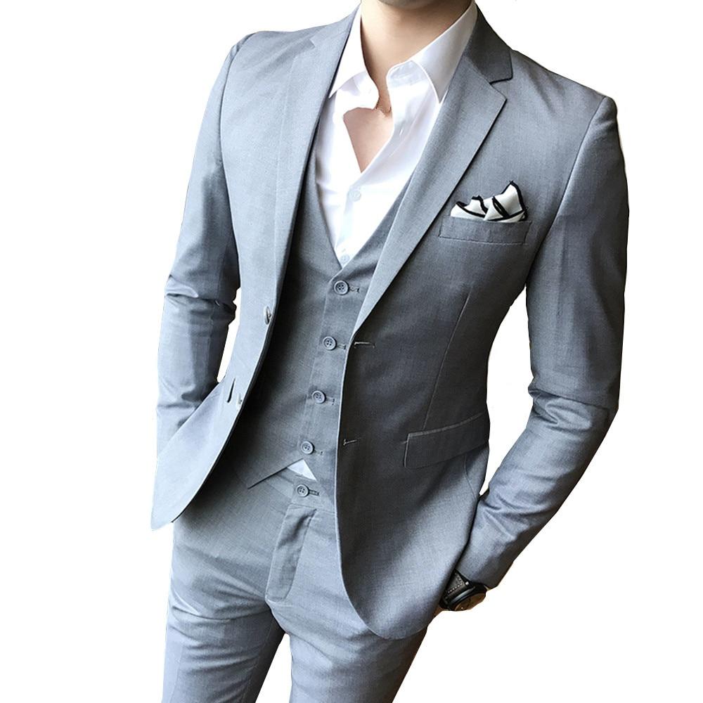 Couleur unie slim fit mâle 3 pièces costumes robe de mariée hommes affaires jolie pochette mariage bal dîner costumes Groomsman porter smoking
