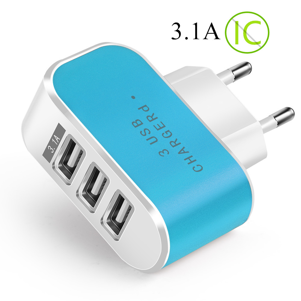 3 Ports USB Charger 3.1A Universal LED Fast Charging Phone Wall Adapter For Samsung A50 A30 Xiaomi Tablet Mobile Phone Charger