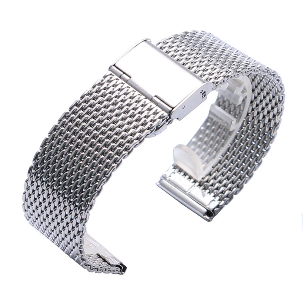 Fabulous High Quality 22mm Watch Strap Silver Stainless Steel Mesh Iron Watch Band Men Women Watch Replace + 2 Spring Bars