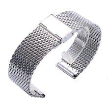Fabulous Alta Calidad 22mm Correa de Reloj de Plata de Acero Inoxidable de Malla Venda de Reloj de Los Hombres Reloj de Las Mujeres de hierro Reemplazar + 2 Primavera bares