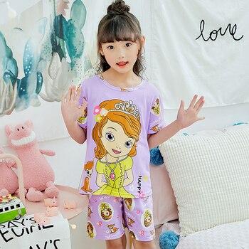 49980e19b 2019 nuevos niños ropa de dormir niños lindo trajes de pijamas de las niñas  de manga corta de dibujos animados ropa de casa Conjunto 2 piezas regalos  para ...