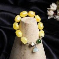 Радхорс 925 серебряные браслеты для женщин ювелирные изделия и натуральных материалов Янтарный Хотан нефрит оригинальный дизайн Diy эластичн