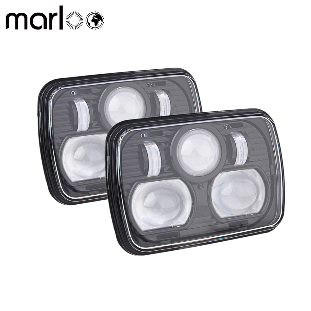 Marloo 2X 5''x 7'' Inch Daymaker led headlight High Low Beam Headlamp 6x7 for jeep Wrangler YJ Cherokee XJ Trucks 4X4 Offroad pair square 5x7 inch led headlight daymaker sealed beam replacement truck light high low beam headlamp for jeep wrangler yj